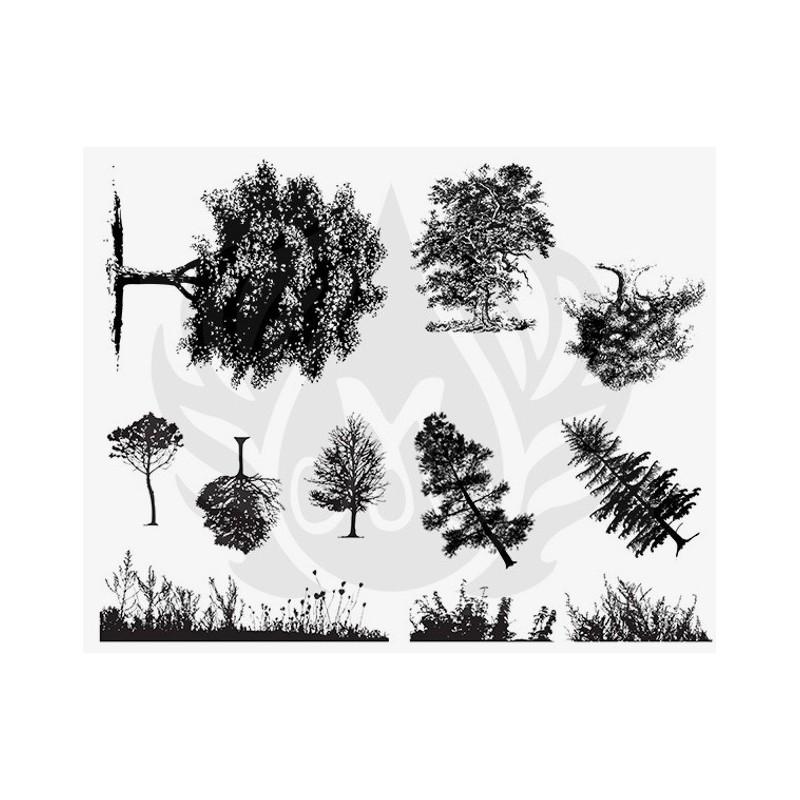 DSS-110 Botanical - Trees & Grass Mayco Designer Silk Screen - İpek Baskı (Serigrafi) 30x38 cm Ağaçlar