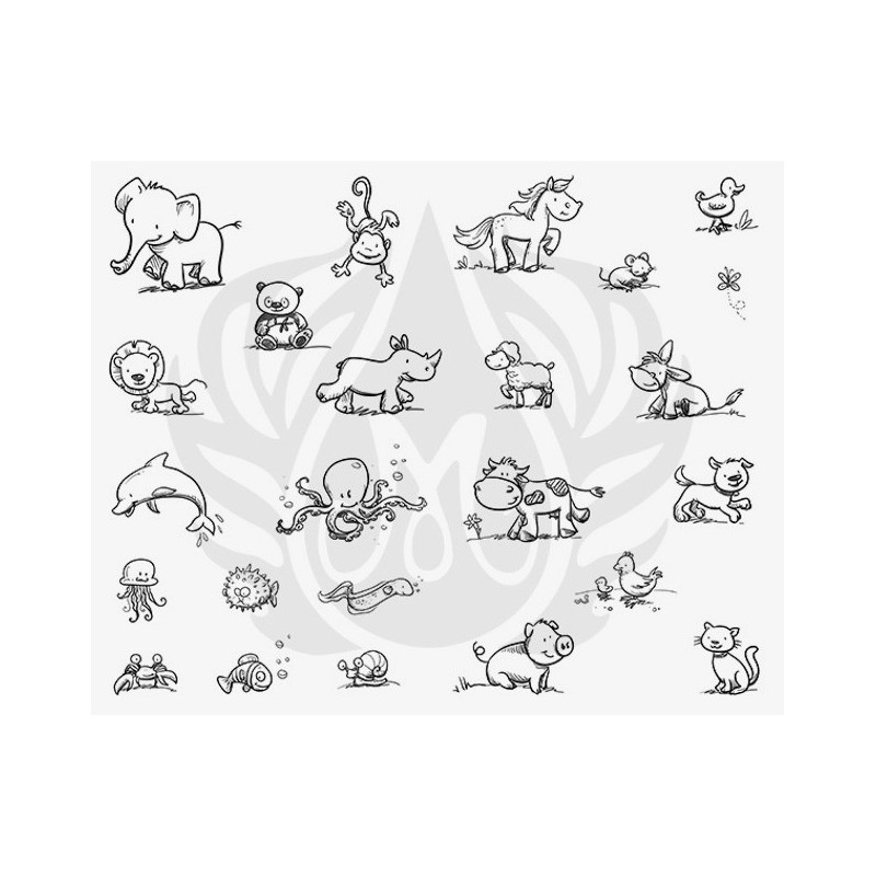 DSS-137 Cutesy Animals Mayco Designer Silk Screen - İpek Baskı (Serigrafi) 30x38 cm Anime Hayvanlar