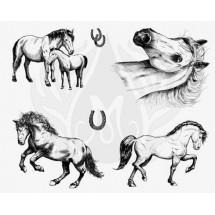 DSS-151 Horses Mayco Designer Silk Screen - İpek Baskı (Serigrafi) 30x38 cm Atlar