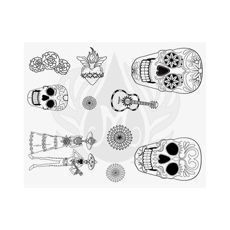 DSS-152 Day of the Dead Mayco Designer Silk Screen - İpek Baskı (Serigrafi) 30x38 cm Kuru Kafalar